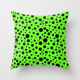 Slime Green and Black Polka Dots  Throw Pillow