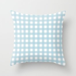 Farmhouse Gingham in Dusty Blue Throw Pillow