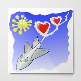 Airplane witn Hearts and Sun Fly on Blue Sky Metal Print