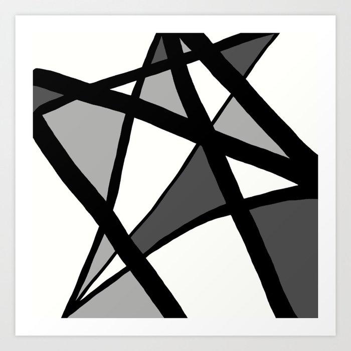 Geometric Line Abstract - Black Gray White Kunstdrucke