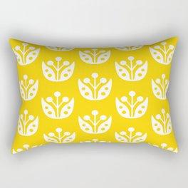 Mid Century Modern Abstract Flower Pattern 821 Yellow Rectangular Pillow