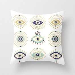 Evil Eye Collection on White Throw Pillow