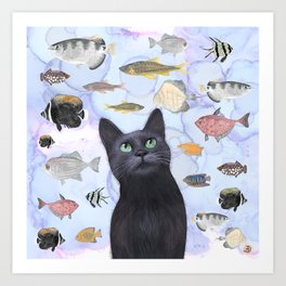 The Hungry Black Cat Gazing at a Fish Tank Art Print