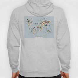 Cartoon animal world map for children and kids, Animals from all over the world, back to school Hoodie