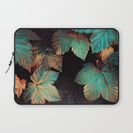 Copper And Teal Leaves Laptop Sleeve