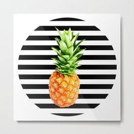 Pineapple, black stripes, kitchen poster, garden poster, rounded Metal Print