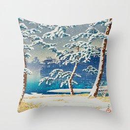 Senzoku Pond (Senzoku-ike) Vintage Japanese Woodblock Print Snow Trees With Lake Throw Pillow