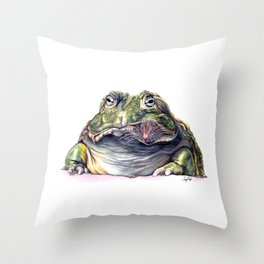 Bullfrog Snacking Throw Pillow