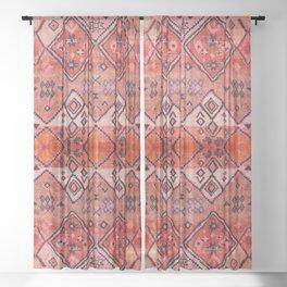 N52 - Pink & Orange Antique Oriental Traditional Moroccan Style Artwork Sheer Curtain
