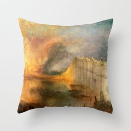 """J. M. W. Turner """"The Burning of the Houses of Lords and Commons""""(1834) Throw Pillow"""