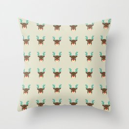 Cute deer pattern Christmas decorations retro colors beige background Throw Pillow