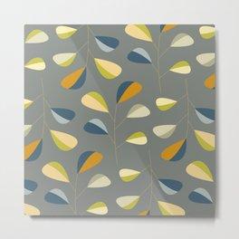 Mid Century Modern Graphic Leaves Pattern 3. dark grey Metal Print