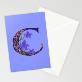 Floral Letter C Monogram Stationery Cards