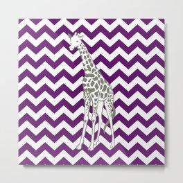 African Violet Safari Chevron with Pop Art Giraffe Metal Print