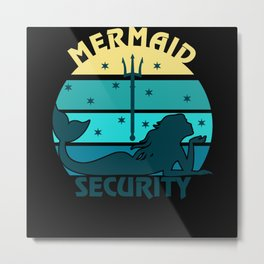 Mermaid Security Retro Design Metal Print