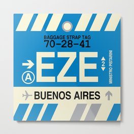 EZE Buenos Aires • Airport Code and Vintage Baggage Tag Design Metal Print