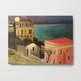 Full Moon over Taormina, Sicily, Italy - Ionian Sea landscape painting by Csontváry Kosztka Tivadar Metal Print
