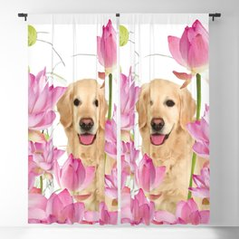 Labrador Retrievers with Lotos Flower Blackout Curtain