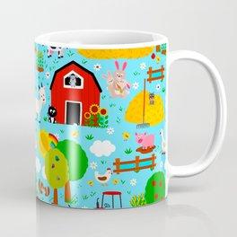 Farm Animals Blue Sky Barnyard Pattern Coffee Mug
