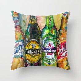Miller Lite - Guinness- Heineken -Schlitz-Stella Artois Throw Pillow