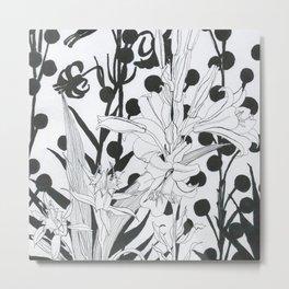Vintage floral in black and white Metal Print