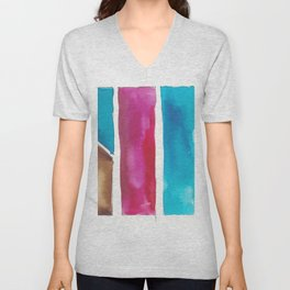 180811 Watercolor Block Swatches 6| Colorful Abstract |Geometrical Art Unisex V-Neck