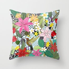 Tropical Pattern With Humming Bird, Strawberry and Colorful Lily Floral Pattern Throw Pillow