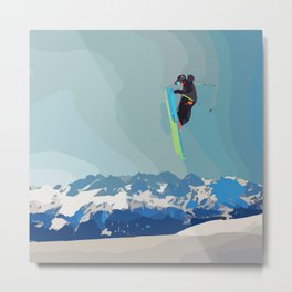 Man on skis, sky jumping, with mountains and blue sky on the backgound Metal Print