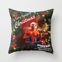 Spidey Christmas Throw Pillow