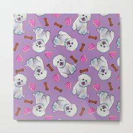 Bichon Frise Love Pattern on Lavender Metal Print