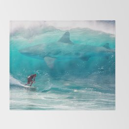 Surfing with a Giant Shark Throw Blanket