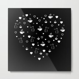 Tea Valentine's Day Heart Tealover Gift Metal Print
