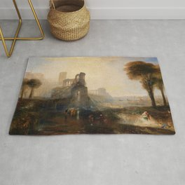 Emperor Palace of Caligra and the bridge - Joseph Mallord William Turner Rug