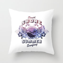 South Shore Summer Surfing Throw Pillow