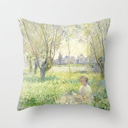Woman Seated under the Willows Throw Pillow