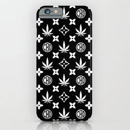Marijuana black and white pattern. Digital illustration. Vector illustration background iPhone Case