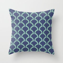 Classic Fan or Scallop Pattern 484 Blue and Green Throw Pillow