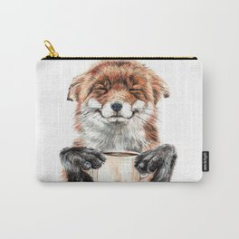 """"""" Morning fox """" Red fox with her morning coffee Carry-All Pouch"""