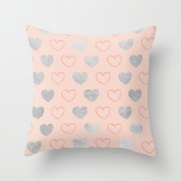Elegant hand painted romantic coral pink silver foil hearts Throw Pillow