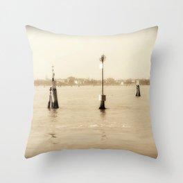 Venice in Sepia Throw Pillow