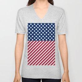 Polka Dots & Diagonal Stripes Unisex V-Neck