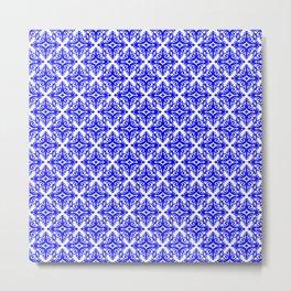 Damask (Blue & White Pattern) Metal Print