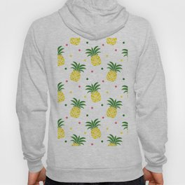 Tropical fruit sunshine yellow green pineapple polka dots Hoody
