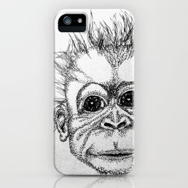 Baby Chimp Black and White Sketch iPhone Case