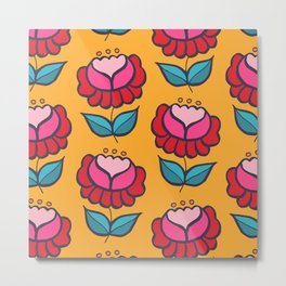 Floral mix yellow background Metal Print