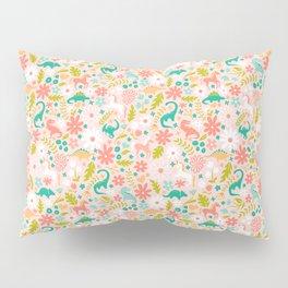Dinosaurs + Unicorns in Pink + Teal Pillow Sham