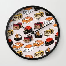 Sushi Persian Cat Wall Clock