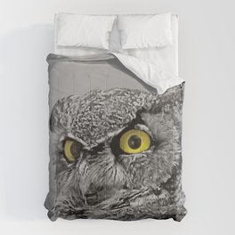 Contemporary Black & White Great Horned Owl Bird Yellow eye Art A515 Comforters