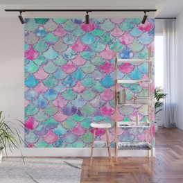 Colorful Pink and Blue Watercolor Trendy Glitter Mermaid Scales  Wall Mural