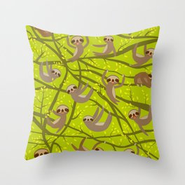 pattern funny and cute smiling Three-toed sloth on green branch tree creeper Throw Pillow